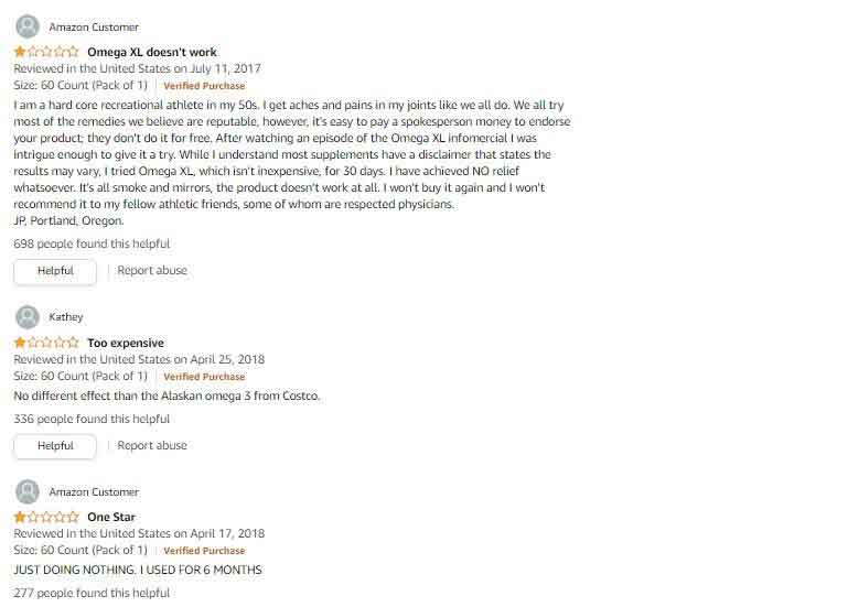 Real Customer Reviews About Omega XL Supplement